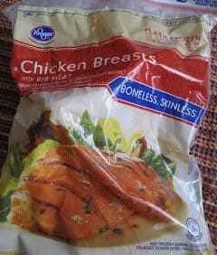 frozen chicken in a bag