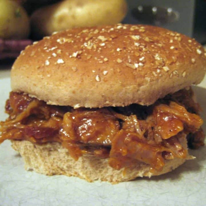 Pulled pork on a whole wheat bun.