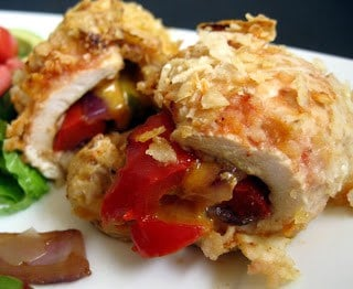 Chicken stuffed with fajita peppers and breaded with tortilla chips.