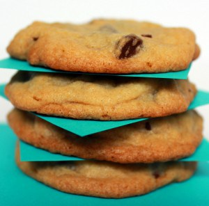 Image of a stack of four cookies, with turquoise colored squares of paper between each cookie.
