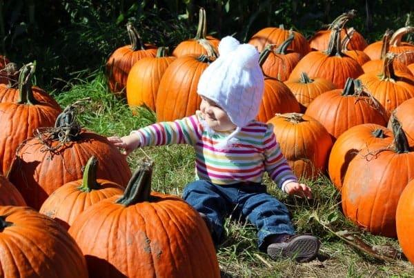 Cute baby wearing a white hat in a pumpkin patch.