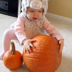 Cute baby girl in a cat costume with a pumpkin.