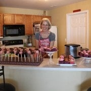 Mom helping me prep for my daughter's 1st birthday party.