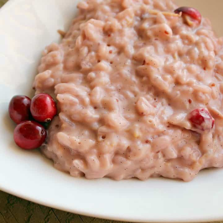 Cranberry Vanilla Rice Pudding