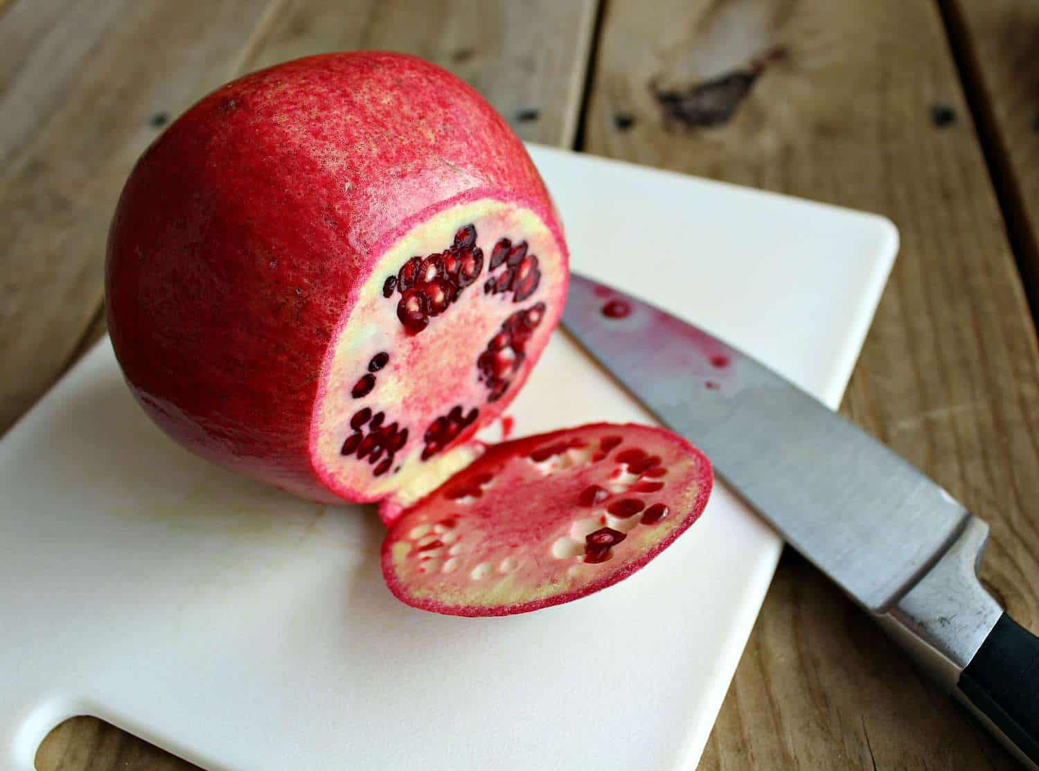 Pomegranate with top cut off.