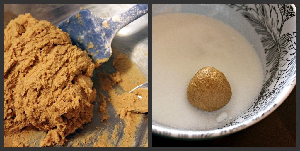 Cookie dough on left, rolled cookie dough in granulated sugar on right.