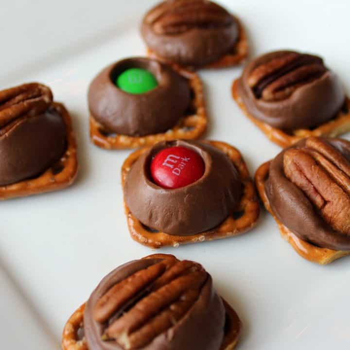Rolo turtles on a white plate.