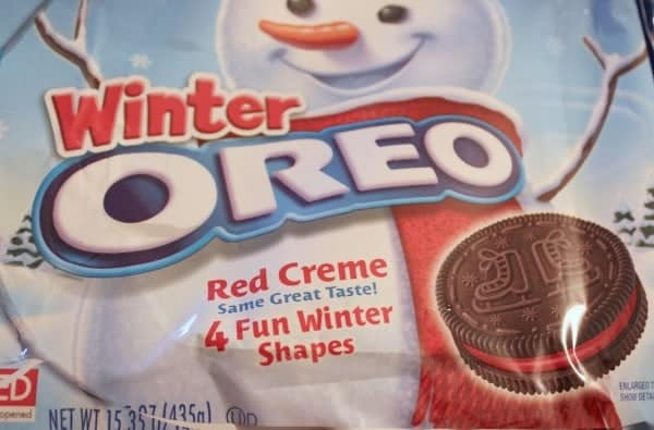 Package of winter Oreo cookies.