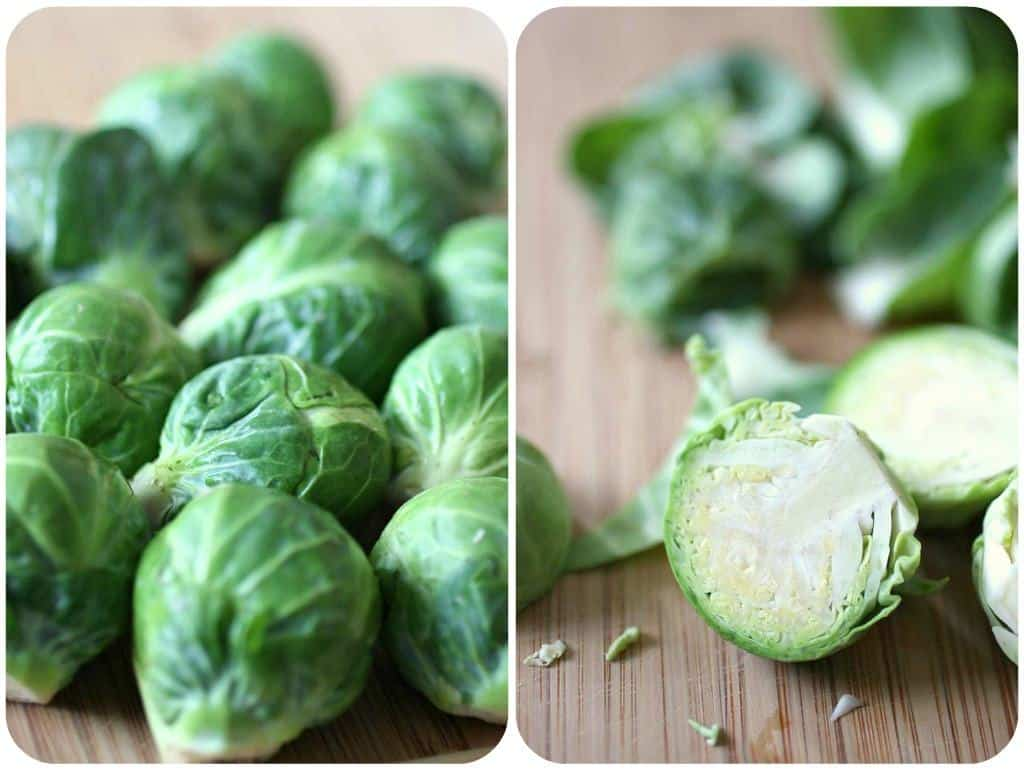 Collage of 2 photos, one showing fresh whole brussels sprouts, one showing halved brussels sprouts.