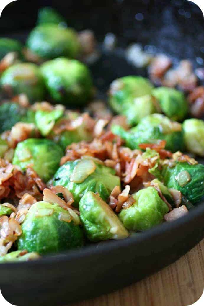 Partial image of sprouts in skillet.