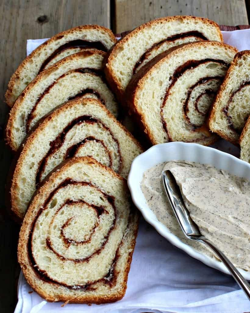 Cinnamon Swirl Bread with Vanilla Bean Whipped Butter - the cinnamon and vanilla bean pair perfectly in this elegant bread and butter combo that will have you swooning. Get the recipe on RachelCooks.com!