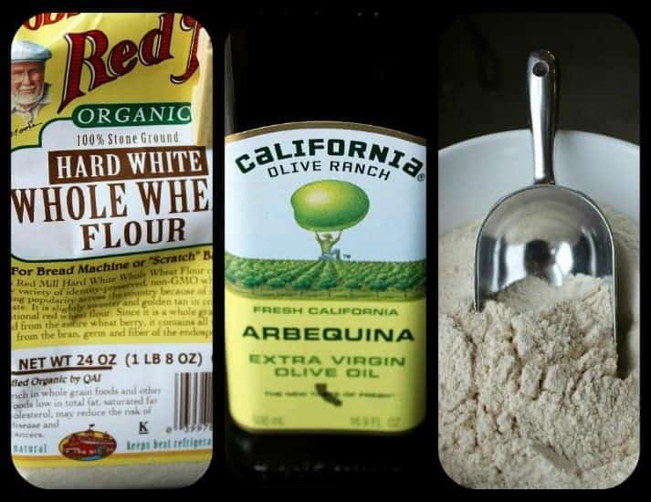 Package of Bob's Red Mill flour, California Olive Ranch olive oil, and flour in triangular bowl with stainless steel scoop.