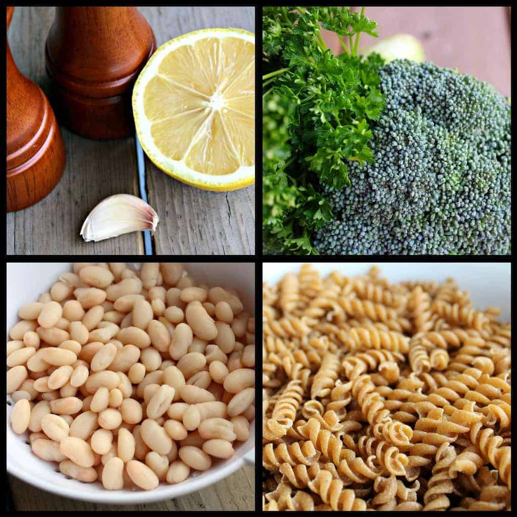 Collage of four photos, each with a component of this pasta recipe.