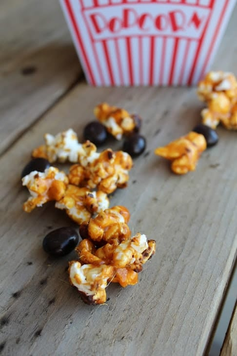 Closeup of caramel corn.