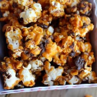 pan containing caramel corn.