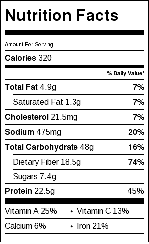 split pea soup nutritional label