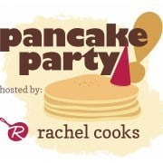 """Graphic showing pancakes and party hat with text, """"Pancake Party hosted by Rachel Cooks."""""""