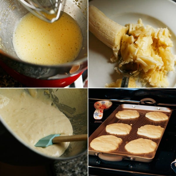 Collage of 4 photos showing the process of making pancakes.