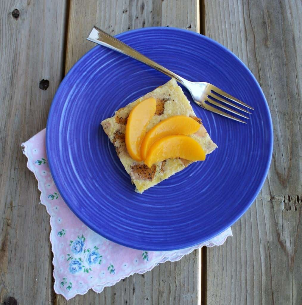 Puffy Peach Pancake with Vanilla Beans - let your breakfast bake while you sip coffee! Get the easy recipe on RachelCooks.com!