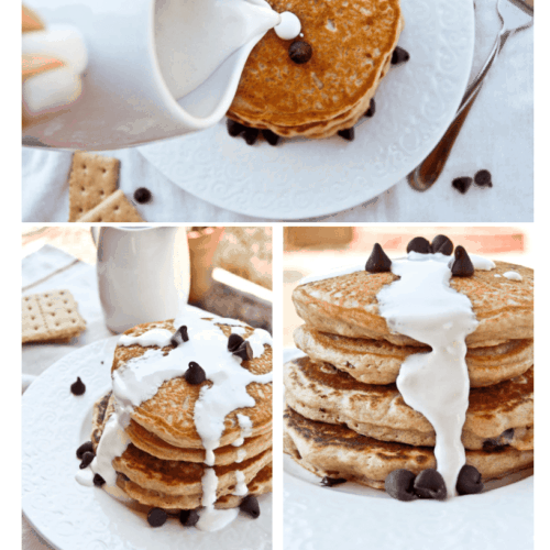 Collage of three photos showing stack of pancakes with marshmallow and chocolate chips.