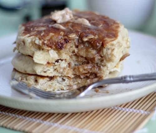 Close up of pancake stack, partially eaten.