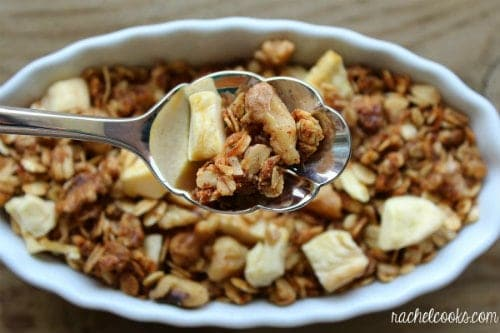 You have the crunch of the granola, the chewiness of the dried apples ...