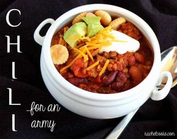"Image chili in a white bowl, text overlay reads ""chili for an army"""