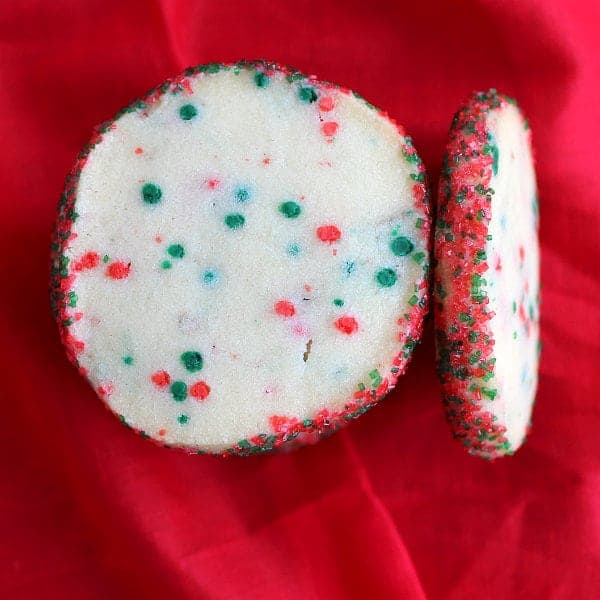 Holiday Funfetti Shortbread Cookies from Rachel Cooks inkatrinaskitchen.com #BringtheCOOKIES
