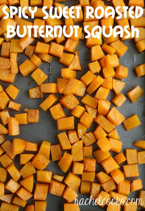 his roasted butternut squash that is both spicy and sweet is 100% perfect! It's an easy and healthy side dish that the whole family will love.Get the recipe on RachelCooks.com!