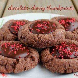 Chocolate Cherry Thumbprint Cookies