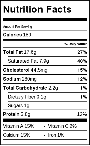 cheddar leek dip nutrition label