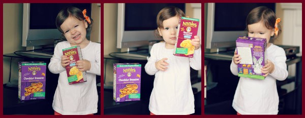 Collage of three photos, with toddler girl examining Annie products.