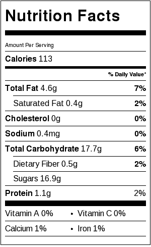 Vanilla Bean Candied Walnuts Nutrition Label