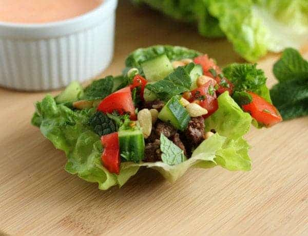 Lamb Lettuce Wraps with Red Pepper Hummus Sauce | RachelCooks.com