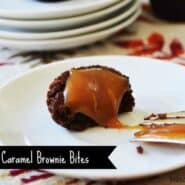 "One salted caramel brownie bite on a round white plate, with bite taken. Text overlay reads ""Salted Caramel Brownie Bites."""