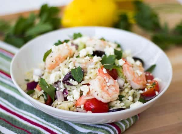 Greek Orzo Salad with Roasted Shrimp {Guest Post} - Rachel Cooks