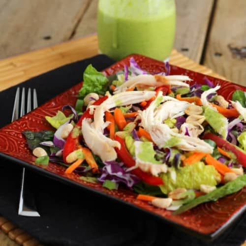 Asian chicken salad in square decorative plate.