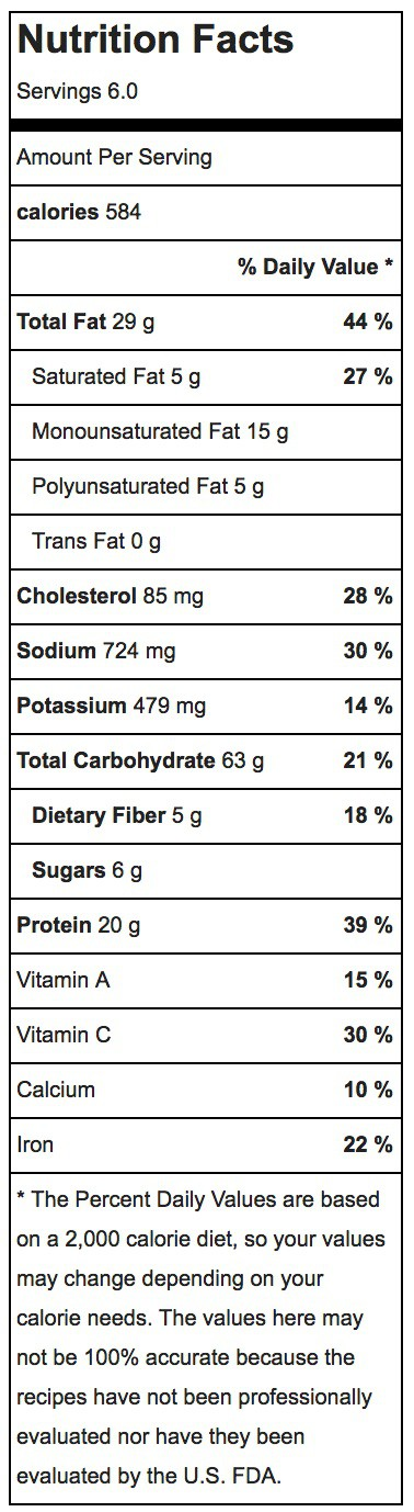 greek orzo salad nutrition label
