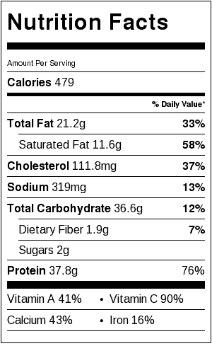 chicken and kale casserole nutrition label