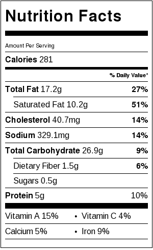 Chive Bread Nutrition Label
