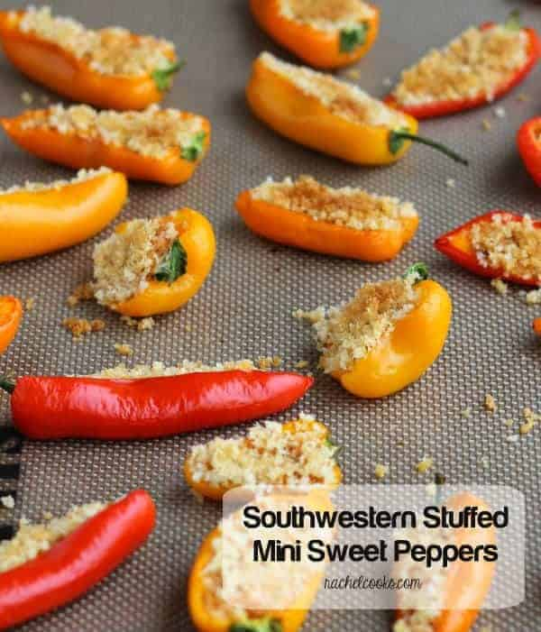 "Stuffed mini peppers scattered on baking sheet. Text overlay reads ""Southwestern Stuffed Mini Sweet Peppers. Rachelcooks.com"""