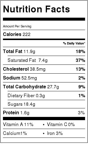 vanilla bean cookie bar nutrition label