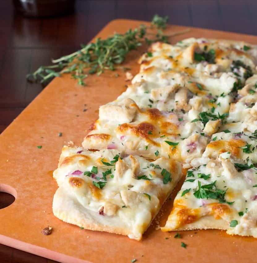 Roasted Garlic, Chicken and Herb White Pizza 3 square