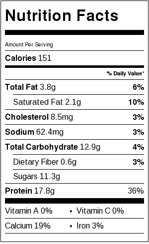 blood orange popsicle nutrition label