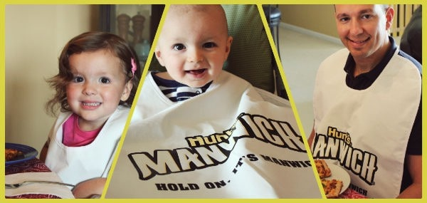 Collage of 3 photos of family wearing large white Manwich bibs.