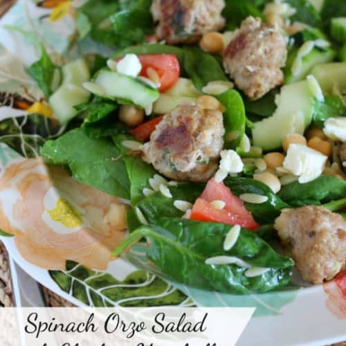 Spinach Orzo Salad with Chicken Meatballs and Chickpeas | RachelCooks.com