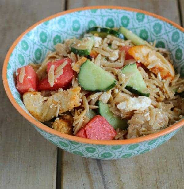 Salad in decorative bowl.
