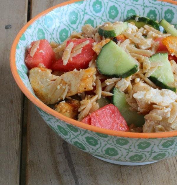 Closeup of salad in decorative bowl.