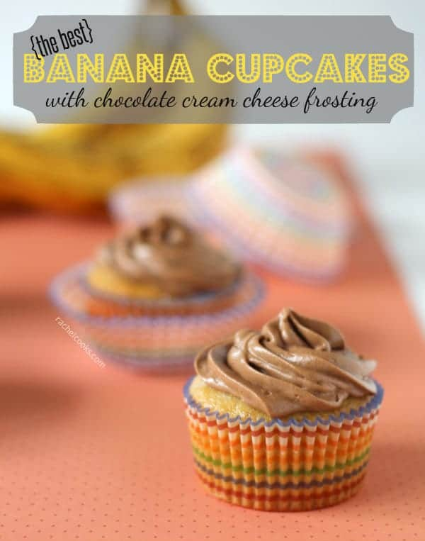 Banana Cupcakes with Chocolate Cream Cheese Frosting and Filling | RachelCooks.com
