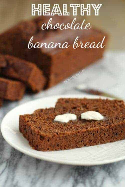 This whole wheat, reduced-fat chocolate banana bread is (almost) guilt-free and is a perfect way to start your morning. Get the easy recipe on RachelCooks.com!